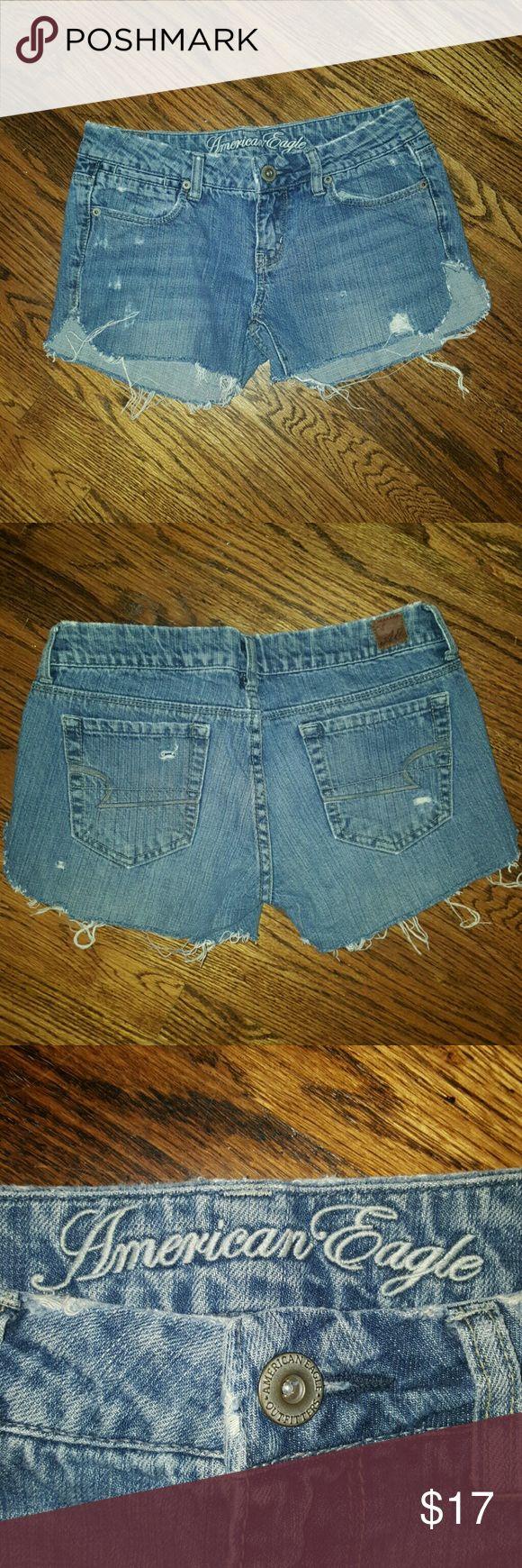 American Eagle Distressed Cutoff Jean Shorts American Eagle Distressed Cutoff Jean Shorts, size 2 American Eagle Outfitters Shorts Jean Shorts