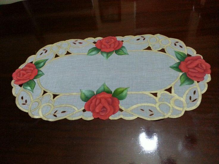 Juego De Baño Navideno A Crochet:Centro de mesa Pintura en tela