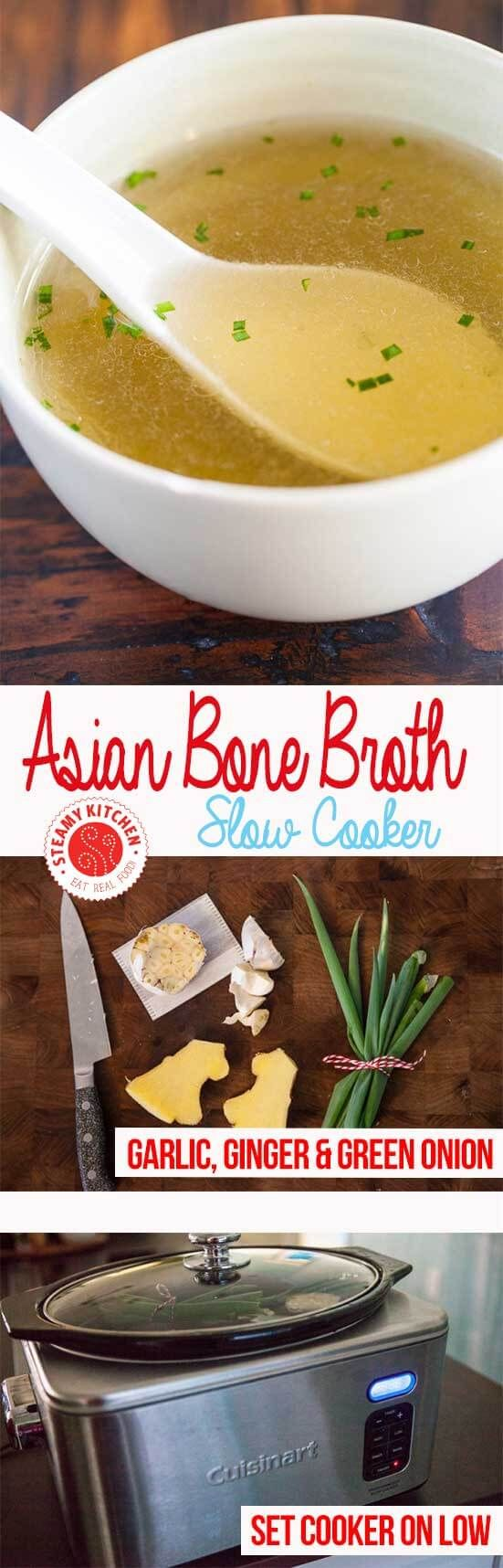 Slow Cooker Bone Broth Recipe, Asian style! Enjoy a hot bowl of nutritious and natural bone broth, using Chinese, Japanese and Vietnamese flavors. ~ https://steamykitchen.com