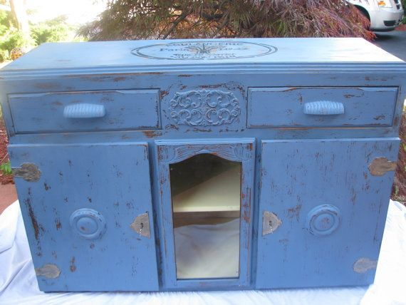 The Dorchester 1920s buffet in planet blue by VictorianRehabDesign, $492.00  upcycled buffet/side board