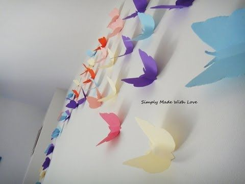 DIY How to make beautiful, cheap and easy, 3D wall decoration with Butterflies - YouTube