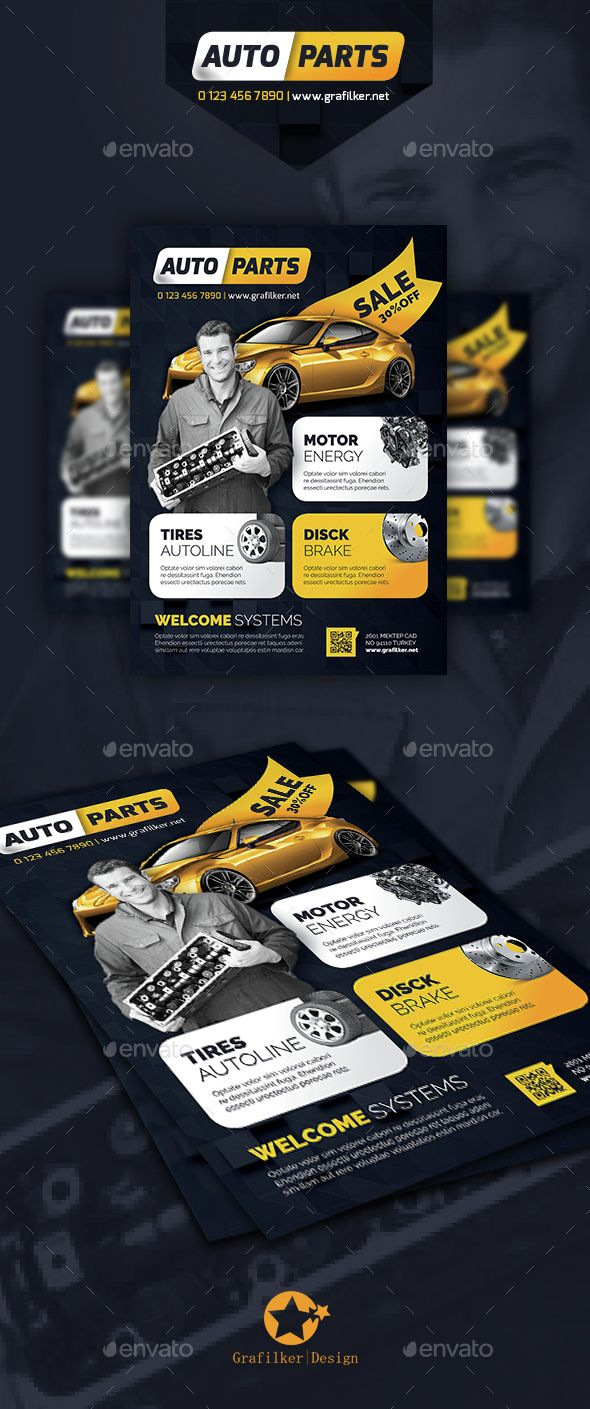 Auto Spare Parts Flyer Template PSD, InDesign INDD. Download here: http://graphicriver.net/item/auto-spare-parts-flyer-templates/14661898?ref=ksioks