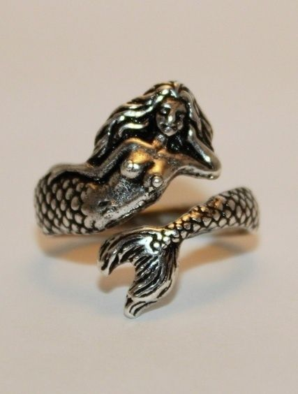 925 Sterling Silver Antique Nautical Sea Nymph Mermaid