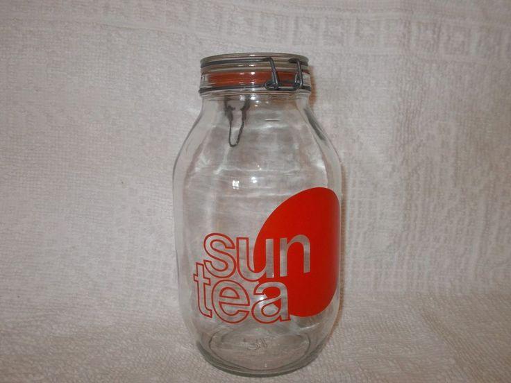 Vintage Wheaton Glass SunTea Sun Tea Jar Latch Top Lid Red Letter 3L