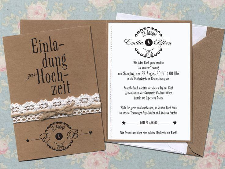 HOCHZEITSEINLADUNG | inkl. Druck + Briefumschlag von Papierwiese auf DaWanda.com