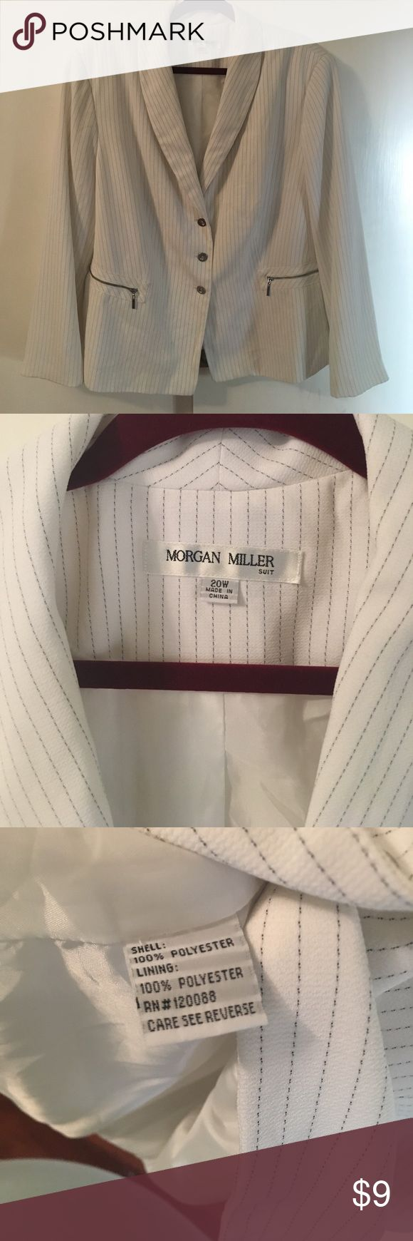 Morgan Miller 20W White w/Black pin stripe Blazer Morgan Miller 20W White w/Black pin stripe Blazer great condition Morgan Miller Jackets & Coats Blazers
