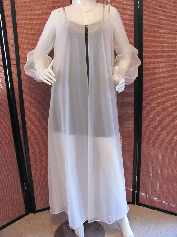 VANITY FAIR ROBE Retro Nylon Tricot White Maxi Robe Sexy