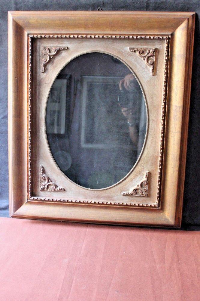 Vecchia cornice in legno + vetro rettangolare con ovale