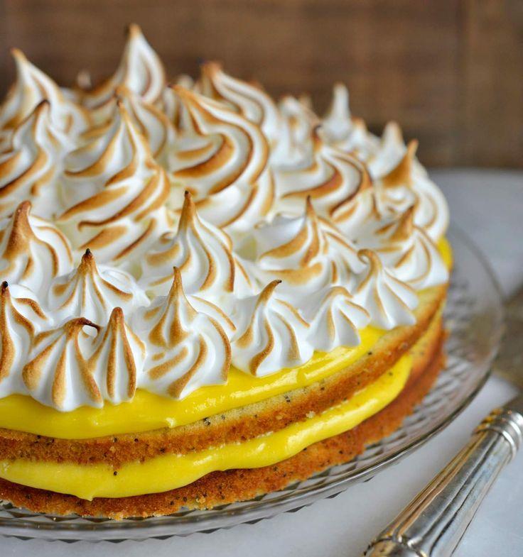 - Sitronkake med valmuefrø og Lemoncurd - Meringue Lemon-Poppy Seed Cake, Lemon Curd-filling, italian meringue