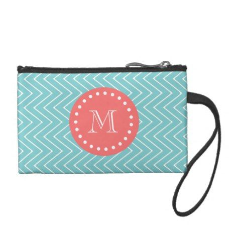 Teal and Coral Chevron with Custom Monogram Coin Wallet