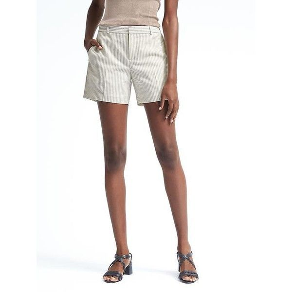 Banana Republic Womens Ryan Fit Pinstripe Short ($48) ❤ liked on Polyvore featuring shorts, cream, cream shorts, pinstripe shorts, zipper shorts, banana republic shorts and banana republic
