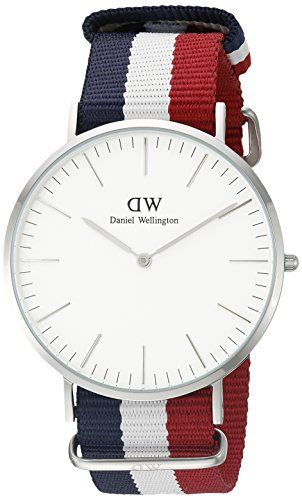 #Daniel #Wellington Cambridge Silver #Men's Quartz #Watch with White Dial Analogue Display and Multicolour Nylon Strap
