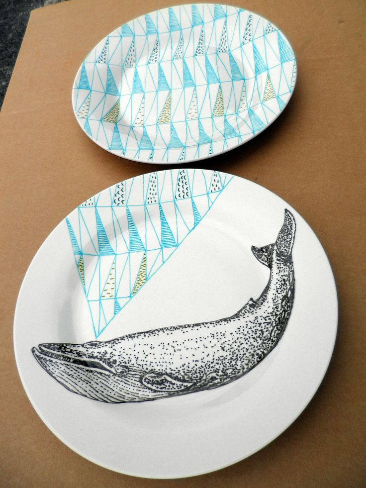 Blue Whale Geometric Design Plates hand illustrated porcelain