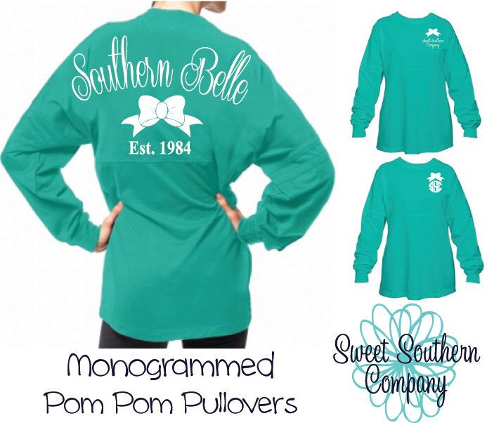 Southern Belle Monogrammed Pom Pom Pullover - The Perfect Southern Oversized Jersey by SweetSouthernCompany on Etsy https://www.etsy.com/listing/210643595/southern-belle-monogrammed-pom-pom