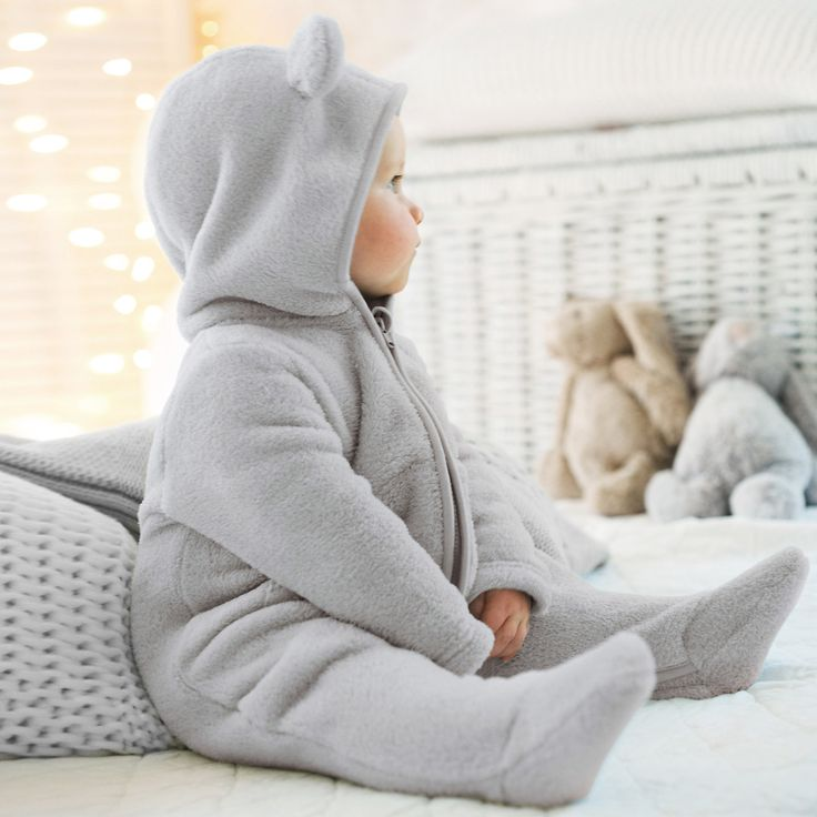Baby Fleece Romper with Ears | The White Company - my little boy looked adorable in this!