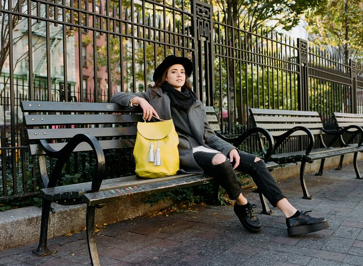 https://www.kokosina.com   Kokosina f/w 2016 campaign, New York City Yellow leather backpack