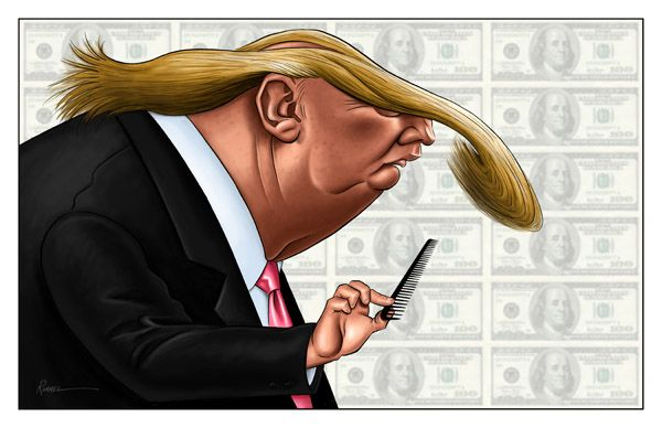 A 2006 Caricature of Donald Trump and his hair. This caricature exaggerates his font hair and his chin area. If you look close up you can find a bald spot  in his hair.   http://www.aboutfacesentertainment.com/pages/caricature-history.html