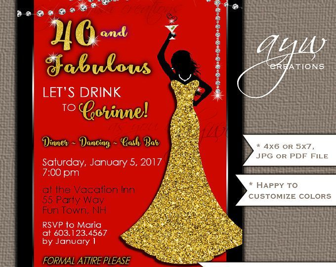 35b9a02c844e 50th Birthday Party Invitations Woman Bling Dress 40th Womans Birthday  Party Invites Dress Bling Gold Cocktail Party Formal Party Red Black