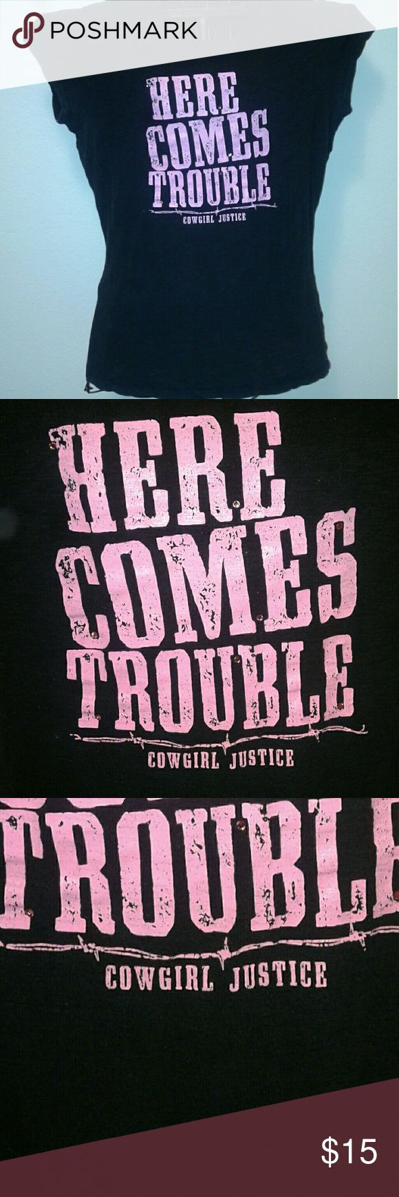 """Black & Pink, Jr. Miss XXL, """"COWGIRL JUSTICE"""" Jr. Miss t-shirt, black & pink with """"HERE COMES TROUBLE"""", distressed look design lettering, snug fit, 100% spun cotton, made in USA, pre-owned, no flaws or defects, still very good condition, original retail-$29.97. Cowgirl Justice Tops Tees - Short Sleeve"""