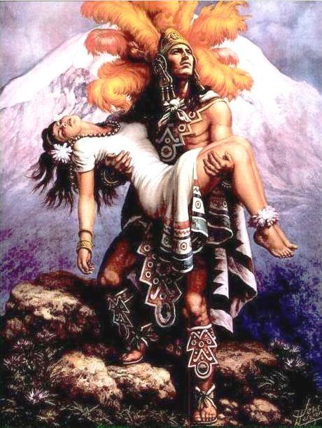 """""""La Leyenda de los Volcanes"""" o """"El Orgullo Azteca"""" (""""The Legend of the Volcanoes"""") by Jesús Helguera"""