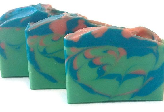 Green and Blue Soap, Spring Soap, Fairy Garden Soap, Green Soap, Handmade Soap, Artisan Soap, Cold Process Soap, Shea Butter Soap, Silk Soap