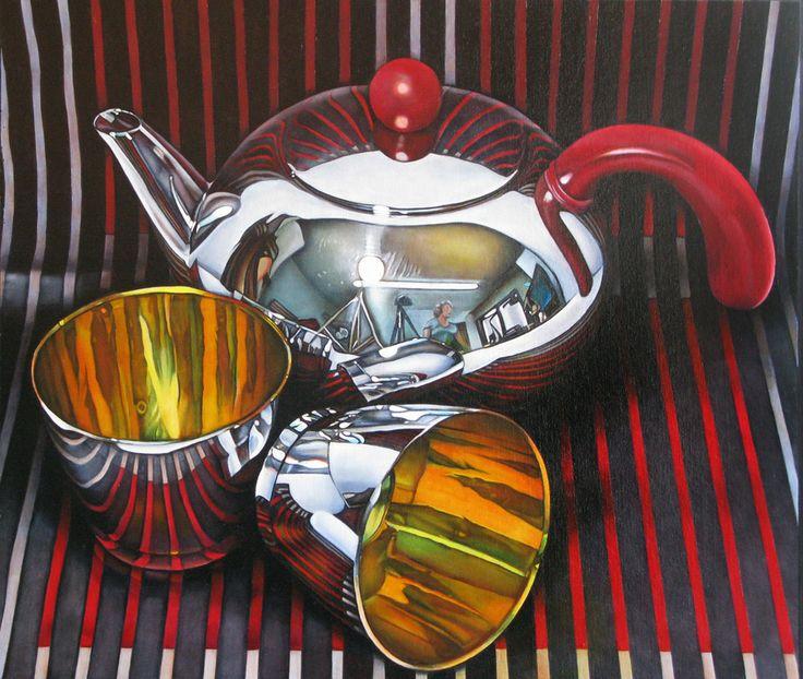 Teapot by Jeanette Pasin Sloan / 31x36 / Oil on Board