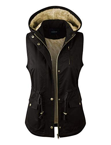 c52a4584756091 Beautiful makeitmint Women s Detachable Hooded Faux Fur Lined Anorak  Utility Jacket Vest Women fashion Tops.   26.49 - 32.49  allfashiondress  from top store