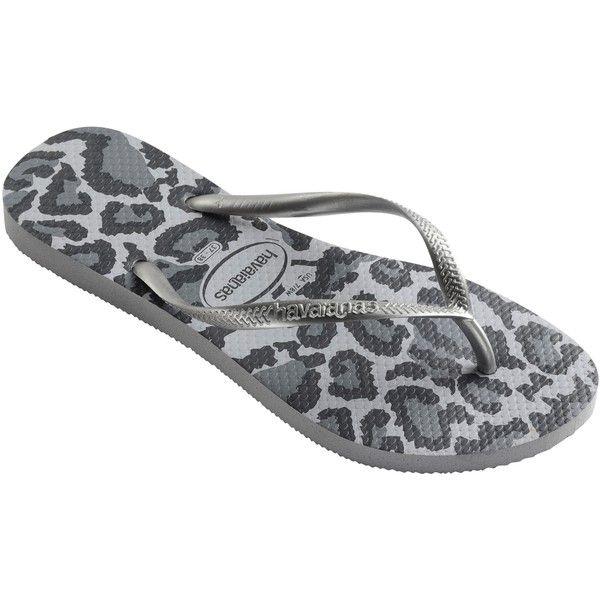 Havaianas Animal Print Flip-Flops , Grey ($19) ❤ liked on Polyvore