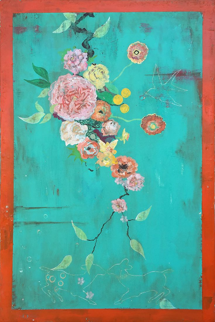 Kathe Fraga paintings inspired by the romance of vintage Parisian wallpapers and Chinoserie Ancienne  The Old Pink Rose, Watered With Seaspray and Drenched in Summer Sun, 36x24 inches on frescoed panel  www.kathefraga.com