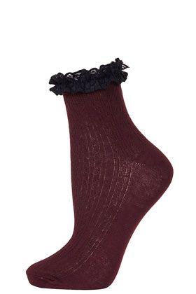 Black Lace Trim Ankle Socks