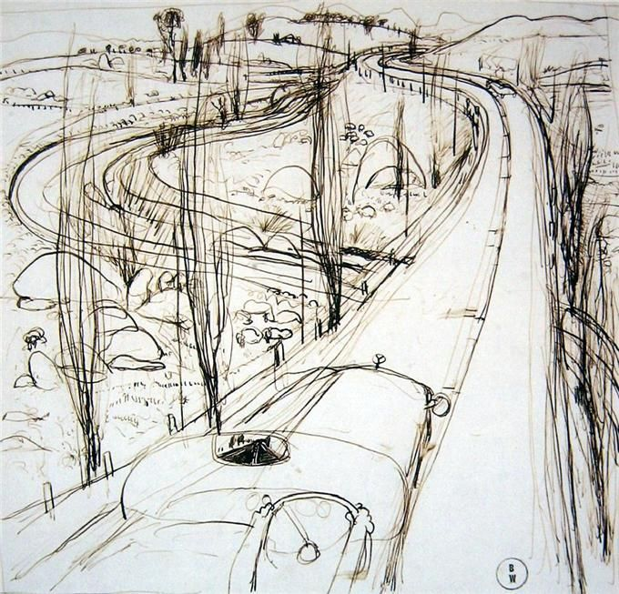 On the Highway. Ink on paper: Brett Whiteley