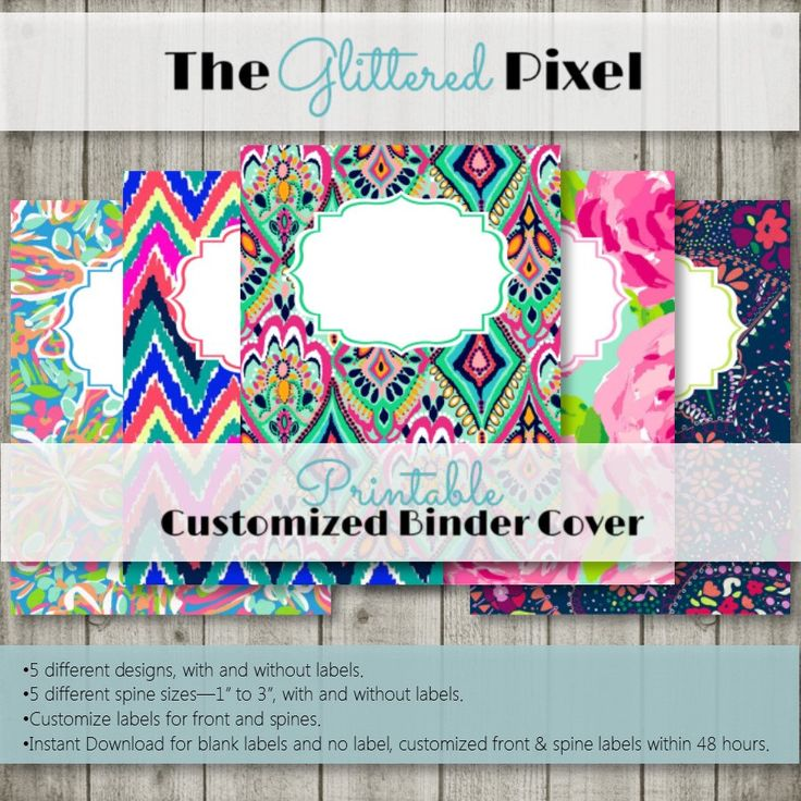Printable Binder Covers - Lilly Pulitzer Inspired Collection - Custom Binder Inserts by TheGlitteredPixel on Etsy https://www.etsy.com/listing/465874833/printable-binder-covers-lilly-pulitzer