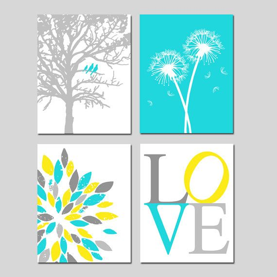 Yellow Aqua Gray Baby Nursery Art Quad  Birds in a Tree by Tessyla, $75.00