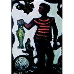Jan Havlík (1915-1995) - Chlapec s rybou