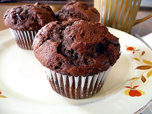 chocolate-chocolate-chunk-muffins. just made them but i added some starbucks via powder and used 2 percent milk because it's what i had. FAB :D
