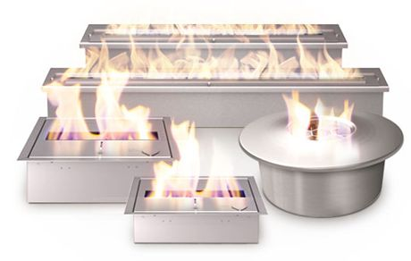 standalone ethanol fireplaces can be used inside & out, built into stuff, etc.