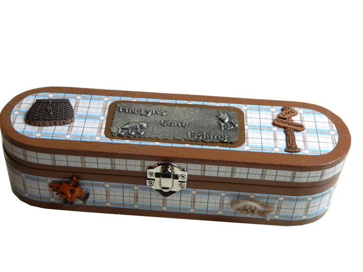 Boy's Wooden Pencil Case mixed media pencil box Fishing theme by Loutul on Etsy