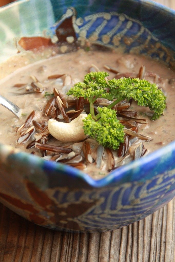 Mushroom Soup with Roasted Cashews and Wild Rice