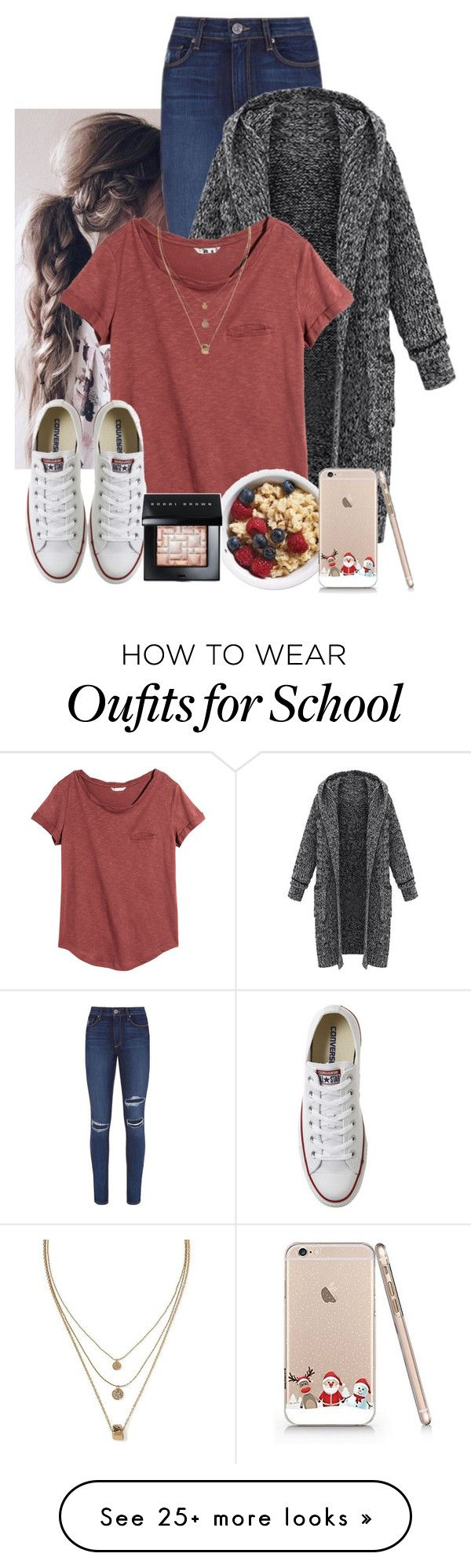 """""""School Morning Expectations"""" by keilahrodgers on Polyvore featuring Paige Denim, H&M, Converse, Banana Republic and Bobbi Brown Cosmetics"""