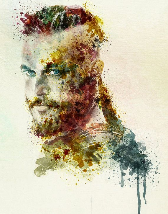 Earl Ragnar Lothbrok watercolor portrait for instant download, wall art, Vikings, Ragnar aquarelle, square painting, printable art, poster