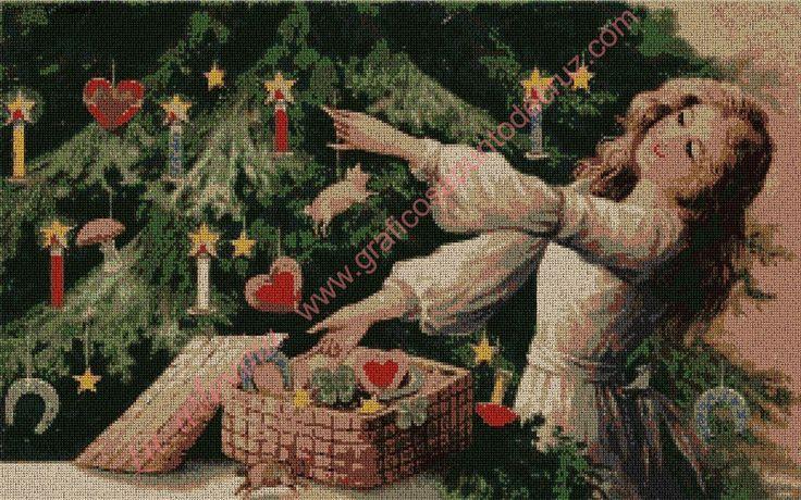 Gráfico a punto de cruz - Preparando la Navidad 54 x 34 cm