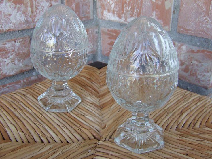 Vintage Homco Cut Crystal Egg Shaped Trinket Box, Eggs on Pedestal, Clear Crystal Egg Shape Trinket Holder,Pair of Crystal Eggs on Pedesdtal by BeautyMeetsTheEye on Etsy