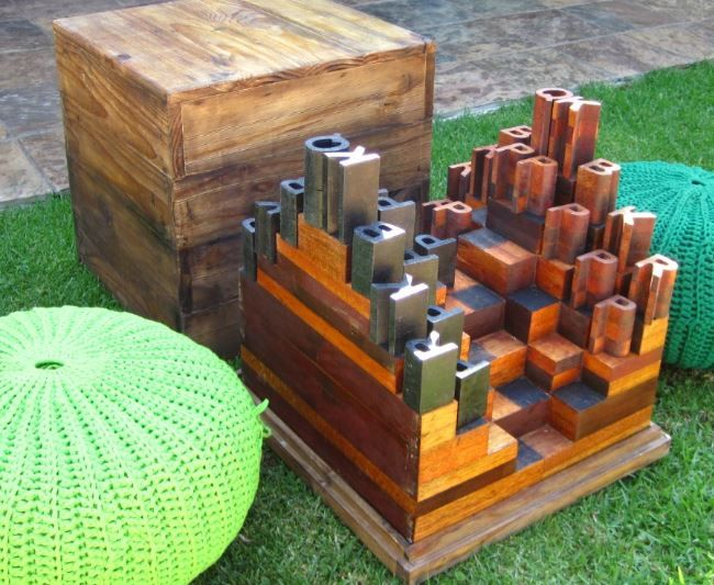 Custom made 3D chess set, with a removable lid, that acts as a low table top in the mystical garden