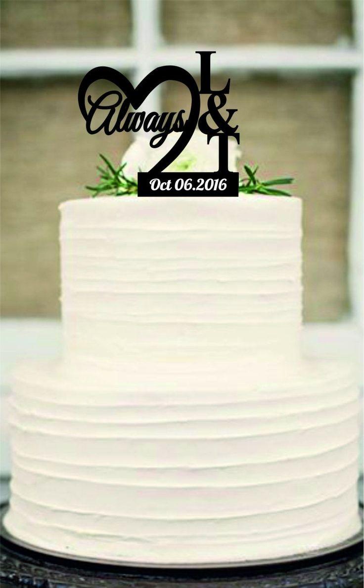Always CakeTopper,Rustic Wedding Cake Topper,Monogram Wedding Cake Topper,Personalized Unique wedding cake topper,wedding decor by Customorderhouse on Etsy