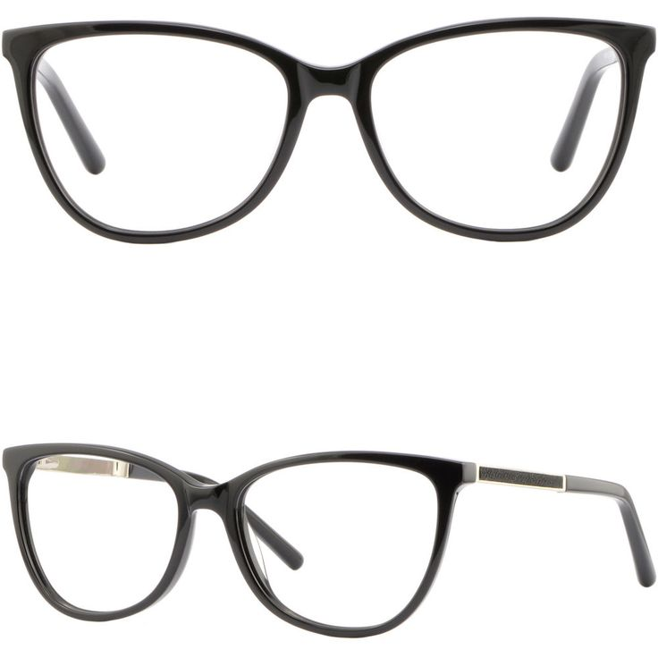 Square Womens Light Acetate Frame Spring Hinges Prescription Glasses Shiny Black