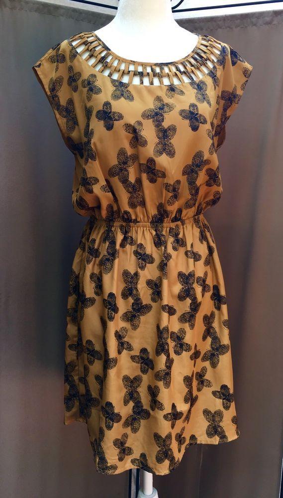 BAR III Women's Gold Butterfly Print Summer Sundress MEDIUM Sleeveless    eBay