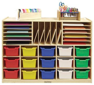 Ecr4Kids Home Indoor Kids Room Multi-Section Birch Storage W/15 Bins - As contemporary-toy-organizers