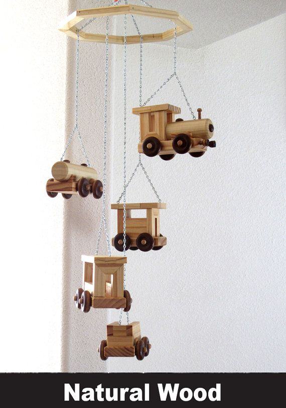 Wood Train Mobile with 5 different pieces by RaysScraps on Etsy