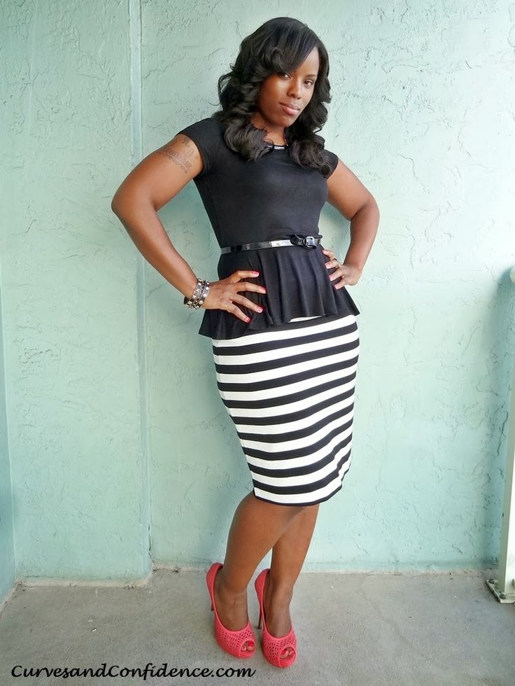 Curves and Confidence   Inspiring Curvy Fashionistas One Outfit At A Time: Work It!: Striped Pencil Skirt