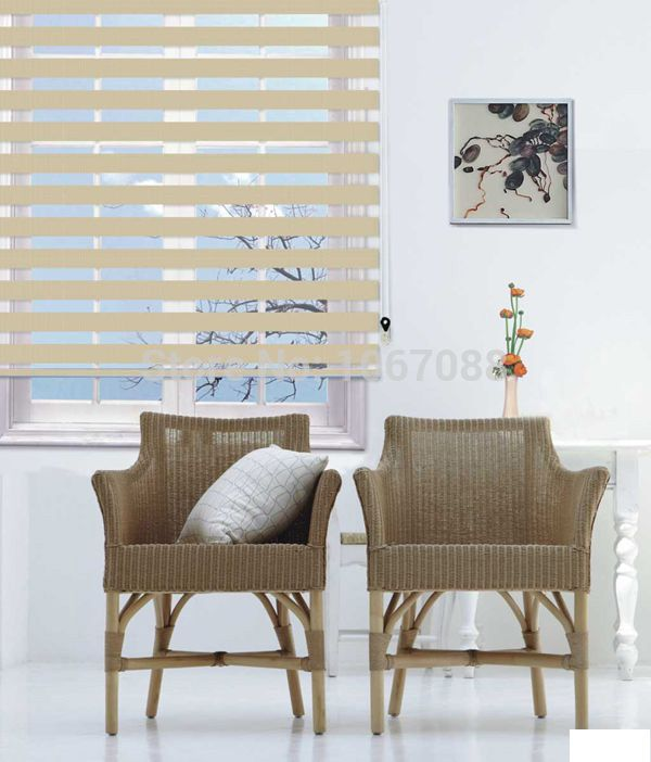 Custom Made Polyester Blackout Eco Friendly Zebra Blinds In Beige Window Curtains For Living Room 12 Colors